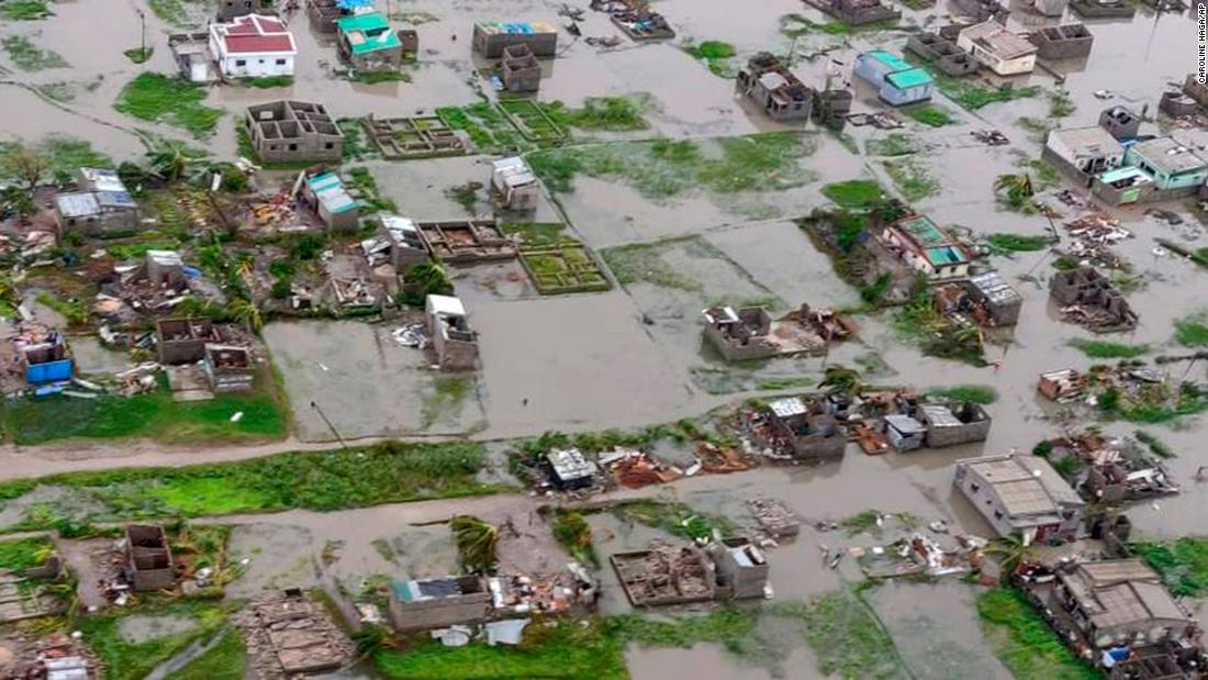 Cyclone survivors clinging to rooftops in Mozambique as they await rescue, aid officials say