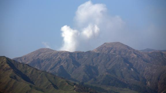 Smoke rises from Mount Aso, Japan's largest active volcano.