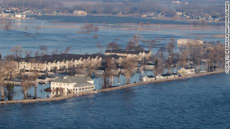 An aerial view shows flooding at Camp Ashland, Nebraska, after a levee broke.