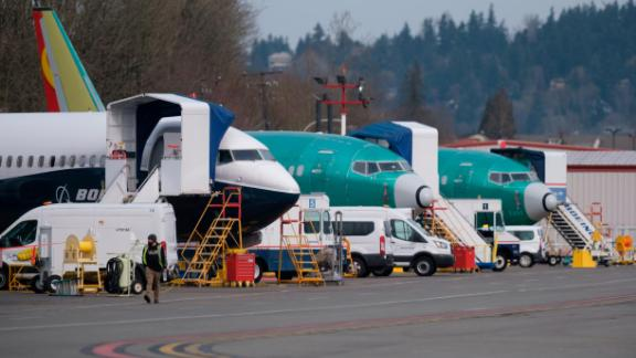 RENTON, WA - MARCH 14: Boeing 737 MAX airplanes, including the 737 MAX 9 test plane (L), are seen at Renton Municipal Airport, on March 14, 2019 in Renton, Washington. The 737 MAX, Boeing
