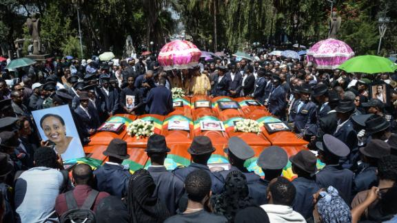 Coffins of victims of the Ethiopian Airlines crash are gathered during a mass funeral at Holy Trinity Cathedral in Addis Ababa, Ethiopia, on March 17. The crash has resulted in the worldwide grounding of the Boeing 737 MAX 8 aircraft model involved in the disaster.