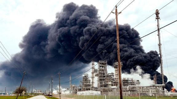 Smoke rises from a petrochemical fire at ITC in Deer Park, Texas, on Monday.