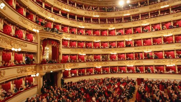 MILAN, ITALY - MARCH 19: A general view of the Teatro alla Scala on March 19, 2011 in Milan, Italy. Events in various Italian cities will celebrate the 150th anniversary of Italy
