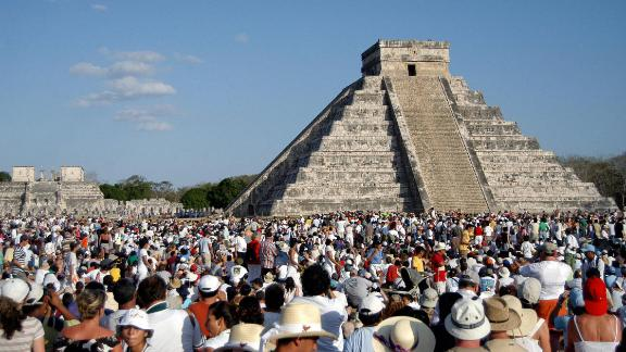 Thousands surround the Kukulkan pyramid at the Chichen Itza archaeological site during the celebration of the spring equinox.