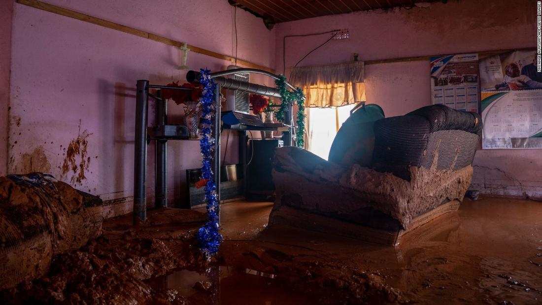Mud fills the interior of a household in Chimanimani on March 19.
