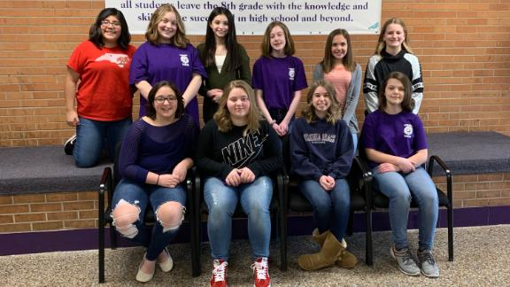 Students at Swan Valley Middle School in Saginaw, Michigan, after donating much of their hair to charity.