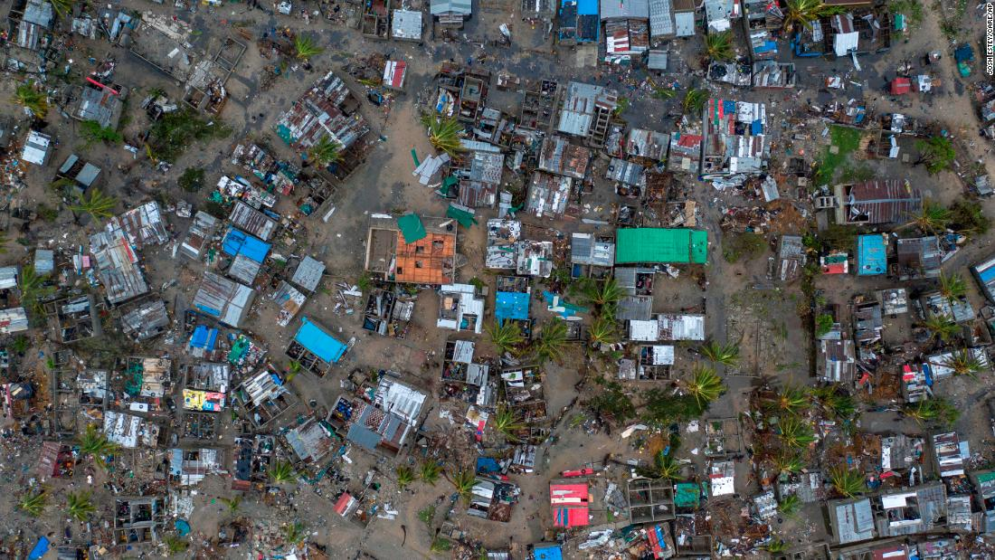 An aerial view of Praia Nova Village on Sunday, March 17. The village was one of the most affected neighborhoods in the coastal city of Beira.