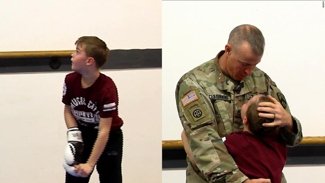 Father surprises son after 10-month deployment