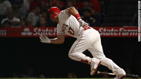 Mike Trout of the Los Angeles Angels in action against the Oakland Athletics in 2018.