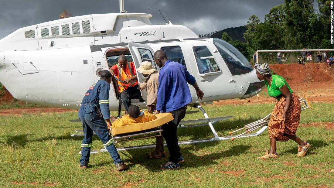 A wounded survivor is evacuated by helicopter from Chimanimani on March 19.