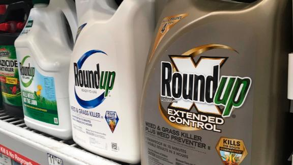 In this Sunday, Feb. 24, 2019 photo, containers of Roundup are displayed on a store shelf in San Francisco. A jury in federal court in San Francisco will decide whether Roundup weed killer caused a California man