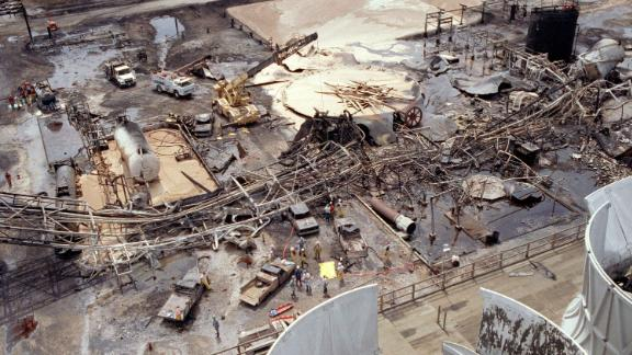 Aerial view of the ARCO chemical plant explosion in Channelview, where 17 people were killed.