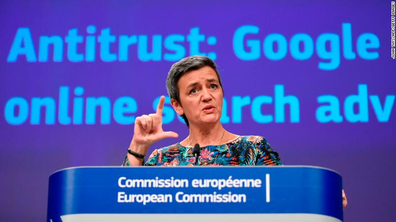 EU Competition Commissioner Margrethe Vestager announcing a third Google fine.
