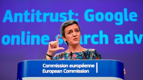 EU Competition Commissioner Margrethe Vestager announcing a third Google fine.
