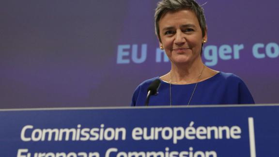 EU Commissioner for Competition Margrethe Vestager smiles during the EU Commissioners