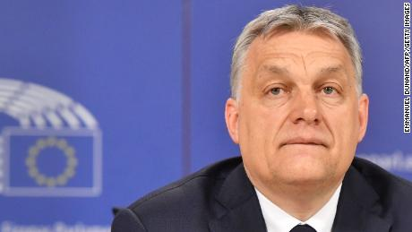 Hungary's Prime Minister Victor Orban addresses a press conference at the end of a European People's Party (EPP) meeting at the European Parliament in Brussels on March 20, 2019. - The Fidesz party of firebrand Hungarian Prime Minister Viktor Orban was hit with a temporary suspension from the European People's Party. Fidesz had faced expulsion after running a controversial billboard campaign that accused European Commission head Jean-Claude Juncker and liberal US billionaire George Soros, a bete-noir of Orban, of plotting to flood Europe with migrants. (Photo by EMMANUEL DUNAND / AFP)        (Photo credit should read EMMANUEL DUNAND/AFP/Getty Images)