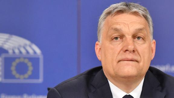 Hungary's Prime Minister Viktor Orban addresses a press conference at the end of a European People's Party (EPP) meeting at the European Parliament in Brussels on March 20.