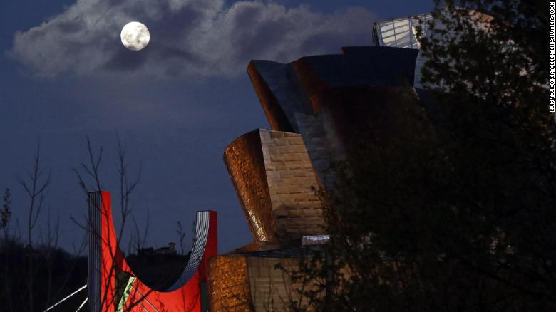 A view of the supermoon over the Guggenheim Museum in Bilbao, Spain.