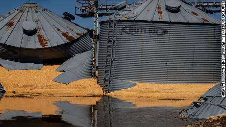 Grain silos destroyed by the flooding in Hamburg, Iowa, on Wednesday.