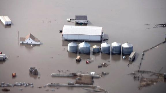 This Monday, March 18, 2019 photo taken by the South Dakota Civil Air Patrol and provided by the Iowa Department of Homeland Security and Emergency Management, shows flooding along the Missouri River in rural Iowa north of Omaha, Neb. (Iowa Homeland Security and Emergency Management via AP)