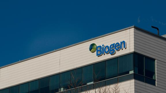 A sign for biotechnology company, Biogen, Inc. is seen on a building in Cambridge, Massachusetts, on March 18, 2017. / AFP PHOTO / DOMINICK REUTER        (Photo credit should read DOMINICK REUTER/AFP/Getty Images)