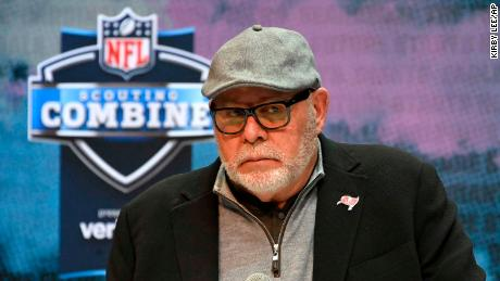 Tampa Bay Buccaneers coach Bruce Arians speaks at a news conference at the NFL football scouting combine in Indianapolis on  February 27, 2019.