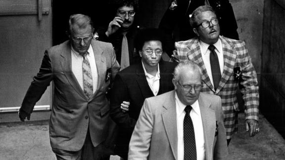Wayne B. Williams leaves the Fulton County Courthouse after his court hearing in Atlanta on Oct. 20, 1981. (Kenneth Walker/Atlanta Journal-Constitution via AP)