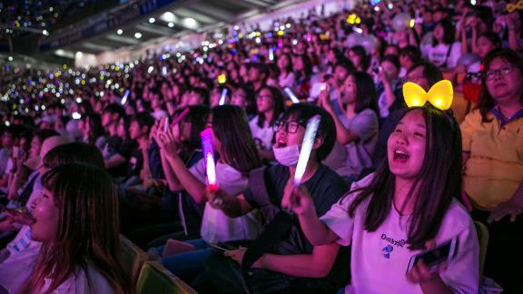 South Korean K-Pop fans cheer during a 2019 concernt in Suwon, South Korea.