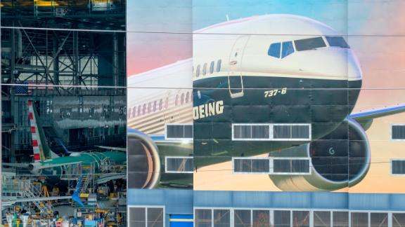 RENTON, WA - MARCH 11: The Boeing 737-8 is pictured on a mural on the side of the Boeing Renton Factory on March 11, 2019 in Renton, Washington. Two of the aerospace company
