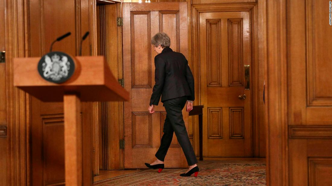"Britain's Prime Minister Theresa May leaves after making a statement at 10 Downing Street in London on Wednesday, March 20. May says it's a matter of ""great personal regret"" that the U.K. won't leave the EU with a deal on March 29."