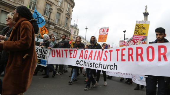 Protesters in London rally against Islamophobia, anti-Semitism and racism after the New Zealand attack.