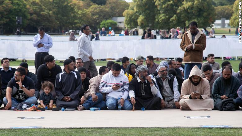 Members of the Muslim community gather for congregational Friday prayers and a two-minute observation of silence at Hagley Park.