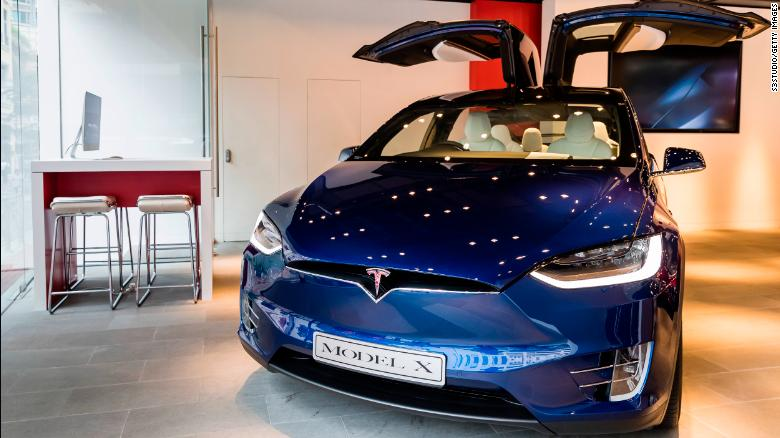 The Tesla Model X on display in Hong Kong. Tesla accuses a former employee of stealing self-driving tech and sharing it with Chinese rival Xiaopeng Motors.