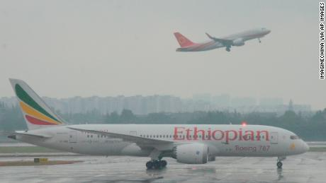 A Boeing 787 operated by Ethiopian Airlines in Chengdu, China, in 2017.