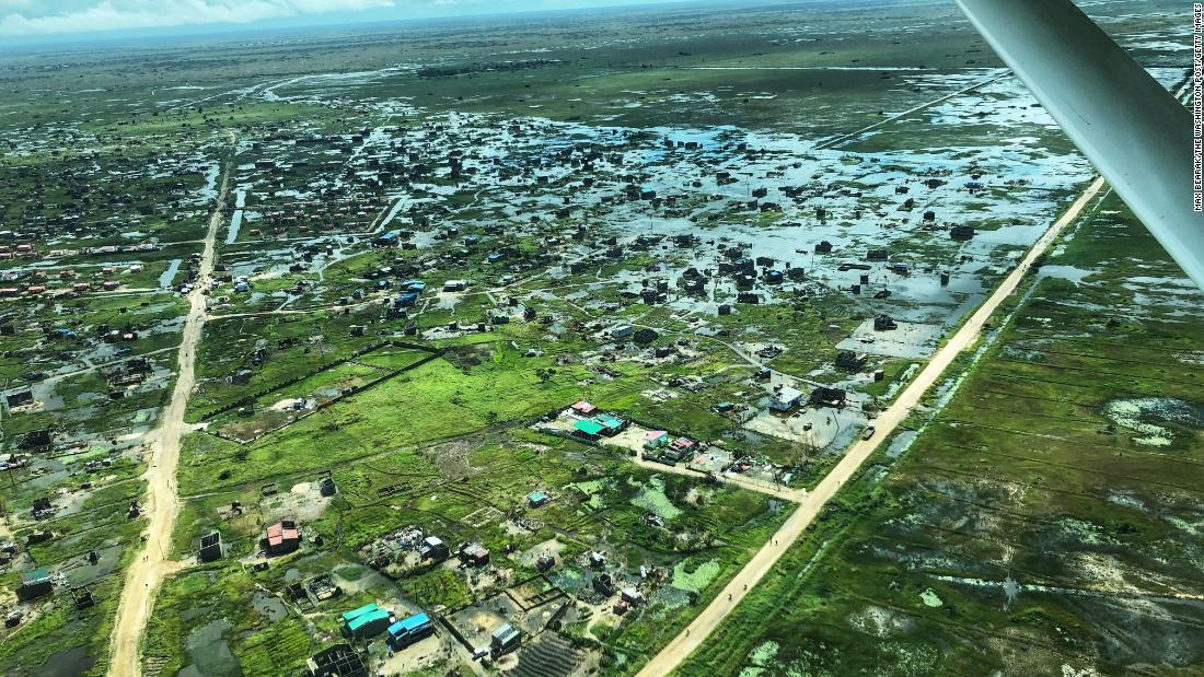 A flooded area outside of Beira is seen on March 21. The area was hit by unprecedented flooding following the passage of Cyclone Idai.