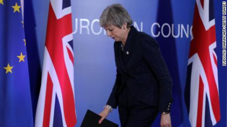 British Prime Minister Theresa May leaves a press conference on March 22, 2019, on the first day of an EU summit focused on Brexit, in Brussels. - European Union leaders meet in Brussels on March 21 and 22, for the last EU summit before Britain's scheduled exit of the union. (Photo by Ludovic MARIN / AFP)        (Photo credit should read LUDOVIC MARIN/AFP/Getty Images)