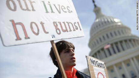 Maximilian Steubl of Churchill High School in Potomac, Maryland, participates in a gun control rally on March 14, 2019 on Capitol Hill in Washington.