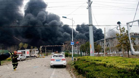 Smoke rises at an explosion site in Yancheng in China's eastern Jiangsu province on March 21, 2019.