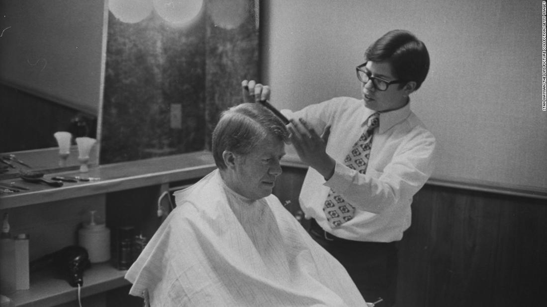 Carter gets a haircut during his first year as governor of Georgia. He was inaugurated on January 12, 1971.
