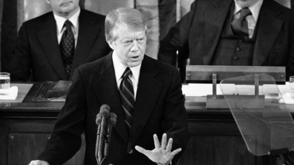 "Carter delivers his State of the Union address to a joint session of Congress in January 1978. ""Government cannot solve our problems,"" he said. Anti-government sentiment at the time was brought on by economic pessimism along with the end of the Vietnam War and the unraveling of the Watergate saga."