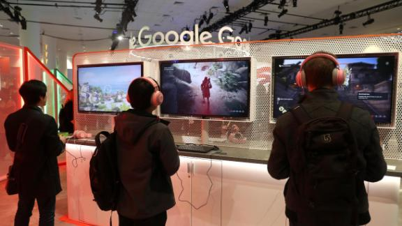 Attendees play games on the new Stadia gaming platform at the 2019 Game Developers Conference.