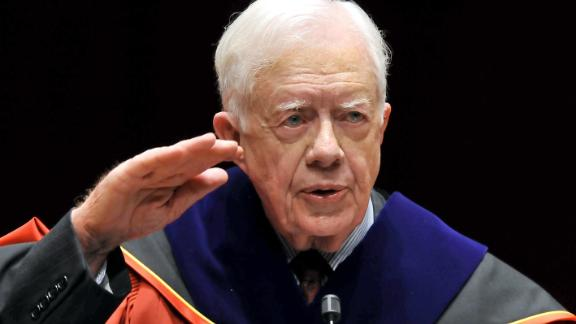 "Carter delivers a speech in Seoul, South Korea, after receiving an honorary doctorate degree from Korea University in March 2010. During a four-day visit to South Korea, Carter urged direct talks with North Korea, saying a failure to negotiate nuclear disarmament might lead to a ""catastrophic"" war."