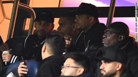 Paris Saint-Germain's Brazilian striker Neymar in the crowd in the Parc de Princes.