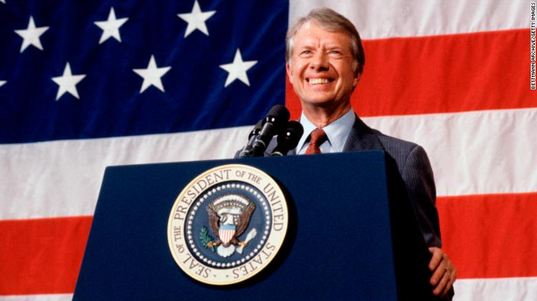 Jimmy Carter, the 39th President of the United States, speaks in Elk City, Oklahoma, in 1979.