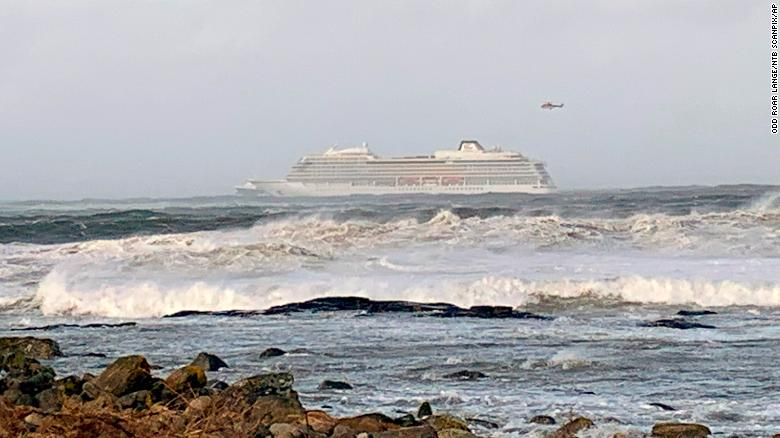 The cruise ship Viking Sky after it sent out a Mayday signal because of engine failure off the west coast of Norway.