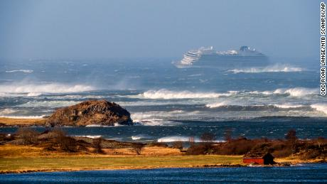 The Viking Sky cruise ship is seen in rough seas Saturday in the Hustadvika area off western Norway.