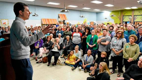 South Bend Mayor Pete Buttigieg speaks to a crowd about his Presidential run during the Democratic monthly breakfast held at the Circle of Friends Community Center in Greenville, S.C. Saturday, March 23, 2019. (AP Photo/Richard Shiro)