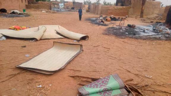 """The scene shortly after a violent attack that left at least 134 people dead and dozens more wounded, which according to witnesses was carried out by the ethnic Dogon militia who descended on Ogossogou village, Mali, early Saturday March 23, 2019.  François Delattre, the president of the U.N. Security Council who spoke in Mali's capital on Saturday, condemned the massacre as an """"unspeakable attack."""" (Tabital Pulaaku via AP)"""
