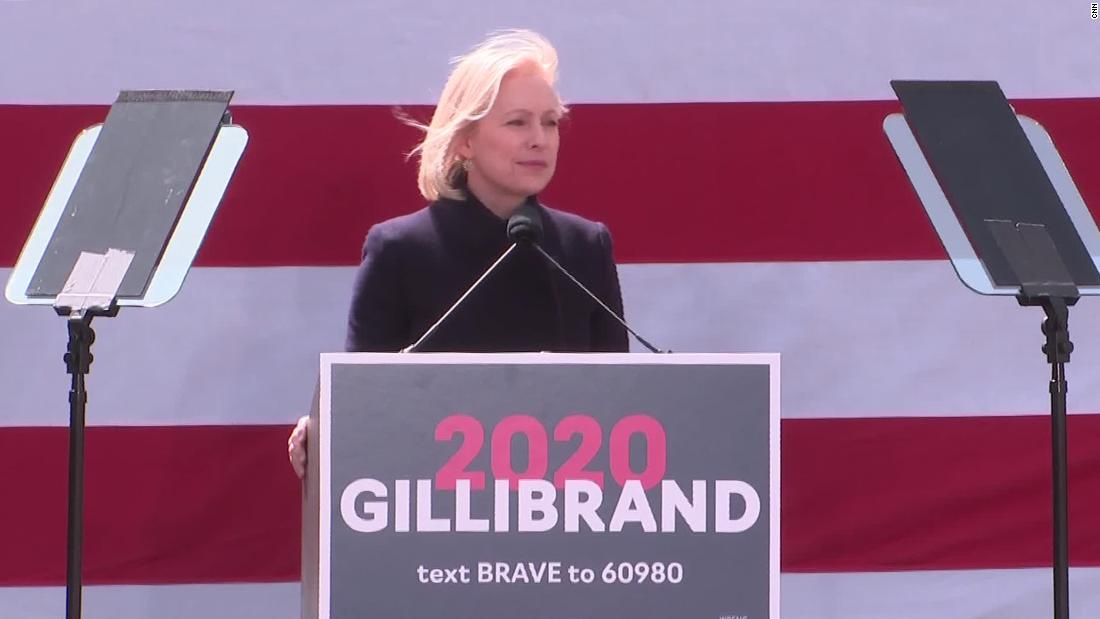 Gillibrand delivers kickoff speech in front of Trump hotel