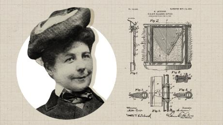Mary Anderson with her schematics for an early version of the windshield wiper, patented in 1903. She got the idea when she toured New York in a trolley car on a snowy day and noticed the driver often had to open his windows to see out.